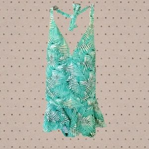Sea and Sand Palm Leaf Halter Ruched Swim Dress 16